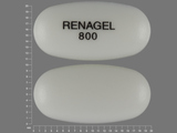 RENAGEL;800. sevelamer hydrochloride 800 MG Oral Tablet [RenaGel]. Ingredients: SEVELAMER HYDROCHLORIDE[SEVELAMER]; SILICON DIOXIDE[]; STEARIC ACID[]; WATER[]; HYPROMELLOSE 2910 (5 MPA.S)[]; HYPROMELLOSE 2910 (15 MPA.S)[]