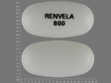 RENVELA;800. sevelamer carbonate 800 MG Oral Tablet [Renvela]. Ingredients: SEVELAMER CARBONATE[SEVELAMER]; HYPROMELLOSE 2910 (5 MPA.S)[]; HYPROMELLOSE 2910 (15 MPA.S)[]; MICROCRYSTALLINE CELLULOSE[]; SODIUM CHLORIDE[]; ZINC STEARATE[]