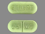 ZOLOFT;25;mg. Sertraline 25 MG Oral Tablet [Zoloft]. Ingredients: SERTRALINE HYDROCHLORIDE[SERTRALINE]